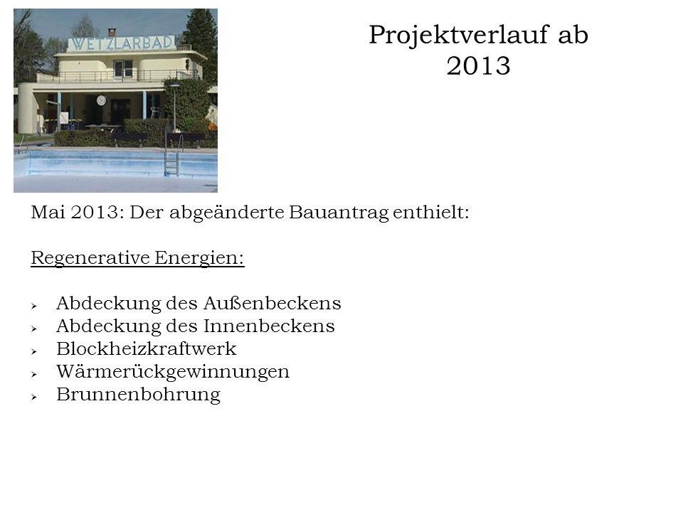 Projektverlauf ab 2013 Mai 2013: Der abgeänderte Bauantrag enthielt: Regenerative Energien:  Abdeckung des Außenbeckens  Abdeckung des Innenbeckens