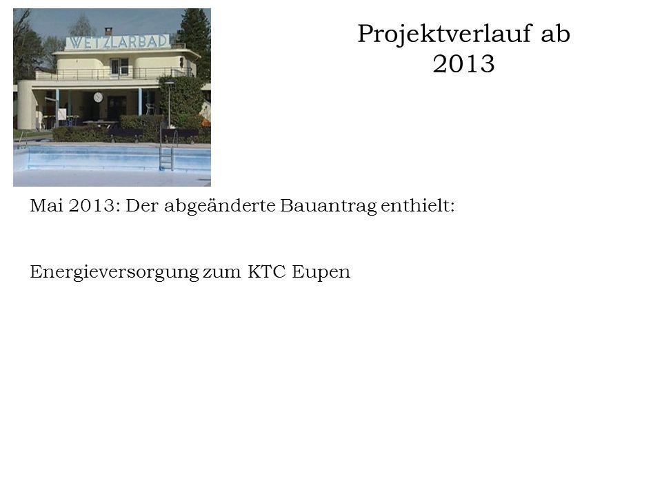 Projektverlauf ab 2013 Mai 2013: Der abgeänderte Bauantrag enthielt: Energieversorgung zum KTC Eupen