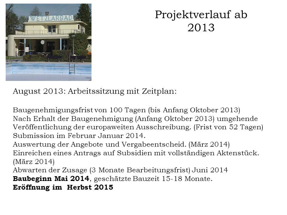 Projektverlauf ab 2013 August 2013: Arbeitssitzung mit Zeitplan: Baugenehmigungsfrist von 100 Tagen (bis Anfang Oktober 2013) Nach Erhalt der Baugeneh