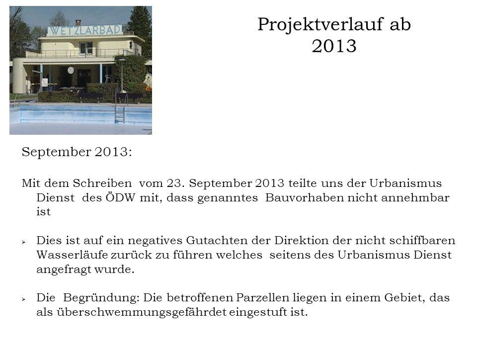 Projektverlauf ab 2013 September 2013: Mit dem Schreiben vom 23. September 2013 teilte uns der Urbanismus Dienst des ÖDW mit, dass genanntes Bauvorhab