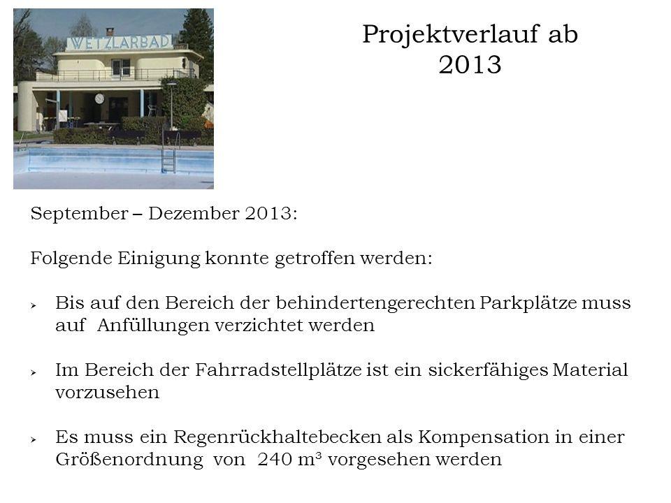 Projektverlauf ab 2013 September – Dezember 2013: Folgende Einigung konnte getroffen werden:  Bis auf den Bereich der behindertengerechten Parkplätze