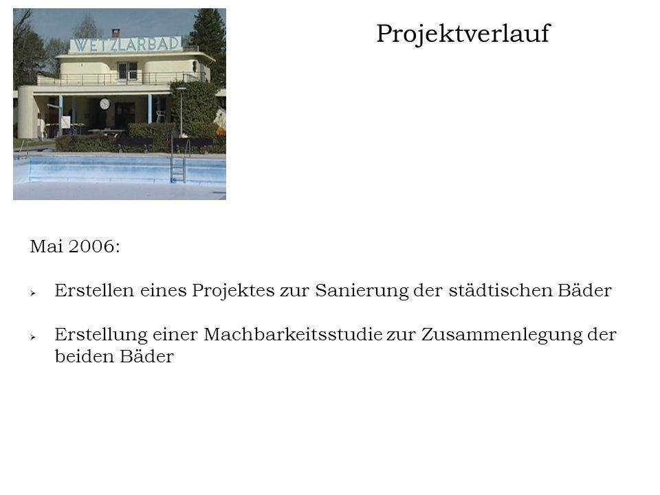 Projektverlauf Mai 2006:  Erstellen eines Projektes zur Sanierung der städtischen Bäder  Erstellung einer Machbarkeitsstudie zur Zusammenlegung der