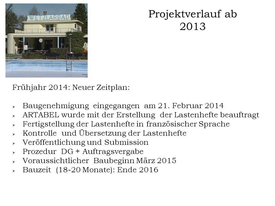 Projektverlauf ab 2013 Frühjahr 2014: Neuer Zeitplan:  Baugenehmigung eingegangen am 21. Februar 2014  ARTABEL wurde mit der Erstellung der Lastenhe
