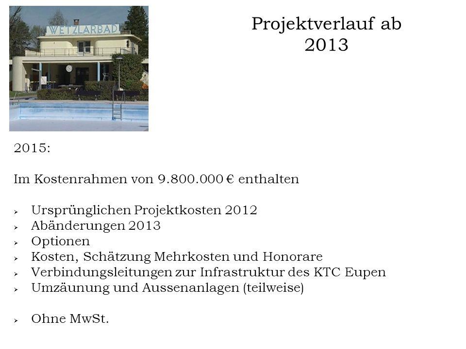 Projektverlauf ab 2013 2015: Voraussichtlicher Beginn der Arbeiten: Herbst 2015 Kostenrahmen: 9.800.000 € inklusive Kosten und Honorare ohne MwSt.