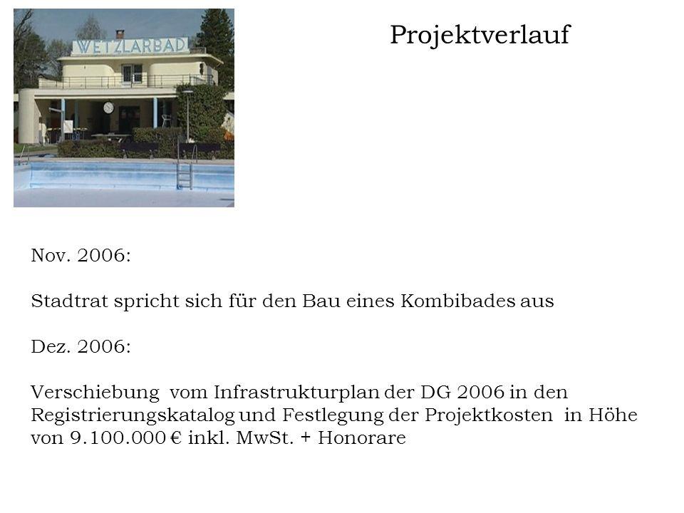 Projektverlauf Nov. 2006: Stadtrat spricht sich für den Bau eines Kombibades aus Dez. 2006: Verschiebung vom Infrastrukturplan der DG 2006 in den Regi