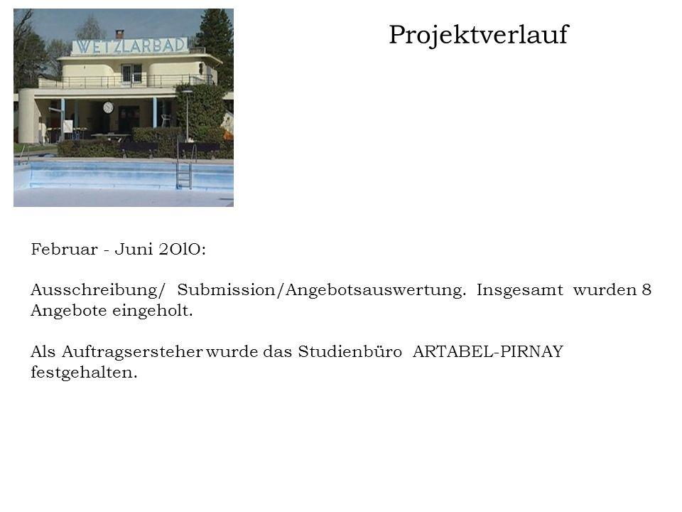 Projektverlauf Februar - Juni 2OlO: Ausschreibung/ Submission/Angebotsauswertung. Insgesamt wurden 8 Angebote eingeholt. Als Auftragsersteher wurde da