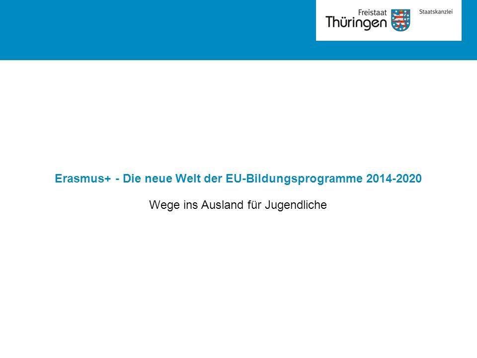 Erasmus+ - Die neue Welt der EU-Bildungsprogramme 2014-2020 Wege ins Ausland für Jugendliche