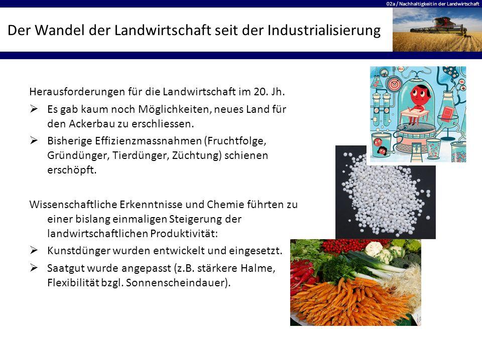 02a / Nachhaltigkeit in der Landwirtschaft Der Wandel der Landwirtschaft seit der Industrialisierung Herausforderungen für die Landwirtschaft im 20.