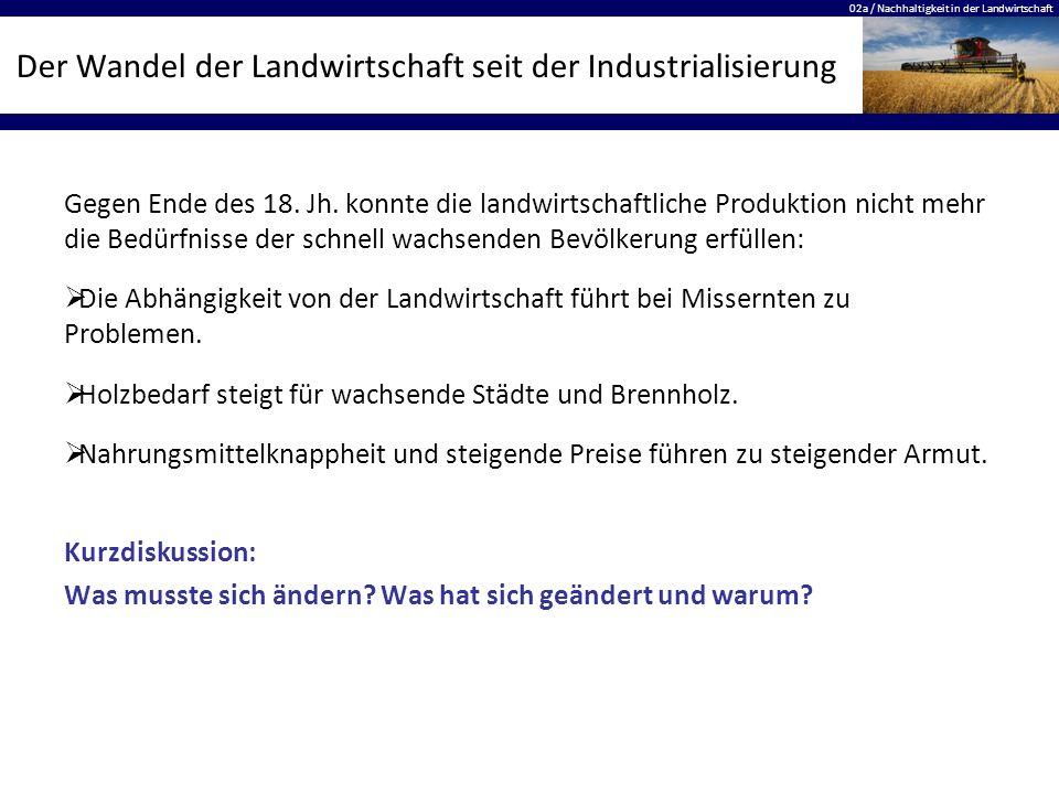 02a / Nachhaltigkeit in der Landwirtschaft Der Wandel der Landwirtschaft seit der Industrialisierung Gegen Ende des 18.
