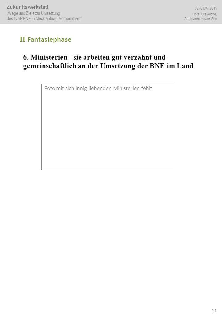 11 II Fantasiephase 6. Ministerien - sie arbeiten gut verzahnt und gemeinschaftlich an der Umsetzung der BNE im Land Foto mit sich innig liebenden Min