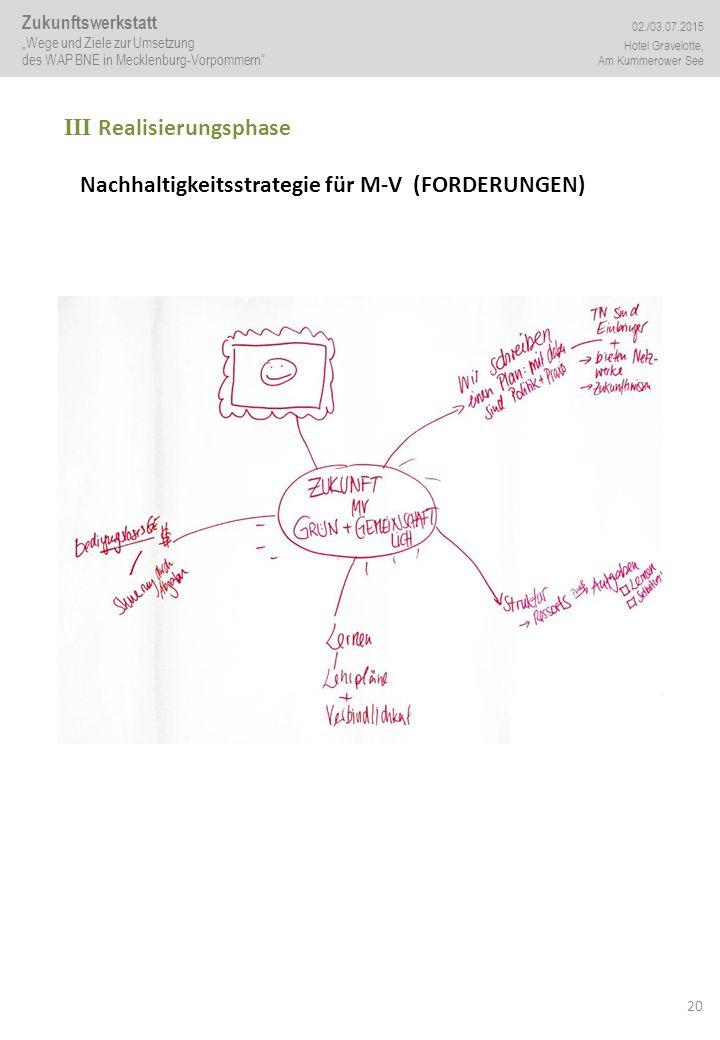 """20 III Realisierungsphase Nachhaltigkeitsstrategie für M-V (FORDERUNGEN) Zukunftswerkstatt """"Wege und Ziele zur Umsetzung des WAP BNE in Mecklenburg-Vo"""