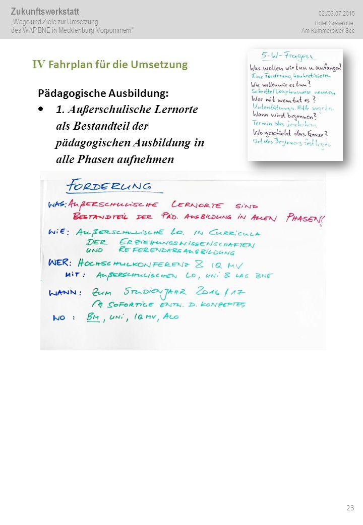 23 IV Fahrplan für die Umsetzung Pädagogische Ausbildung:  1. Außerschulische Lernorte als Bestandteil der pädagogischen Ausbildung in alle Phasen au