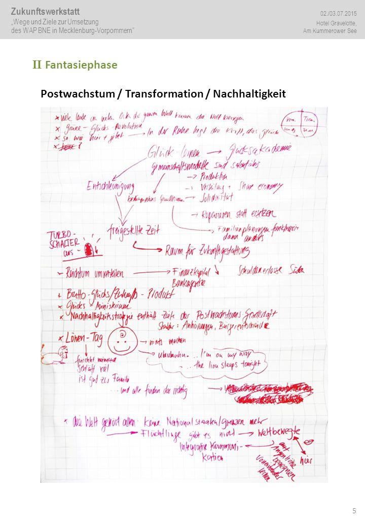 """5 II Fantasiephase Postwachstum / Transformation / Nachhaltigkeit Zukunftswerkstatt """"Wege und Ziele zur Umsetzung des WAP BNE in Mecklenburg-Vorpommern 02./03.07.2015 Hotel Gravelotte, Am Kummerower See"""