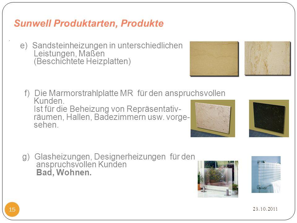 Sunwell Produktarten, Produkte 23.10.2011 15.