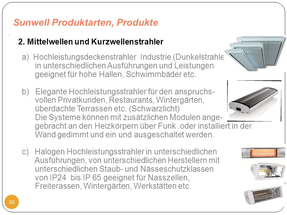 Sunwell Produktarten, Produkte 23.10.2011 16. 2.