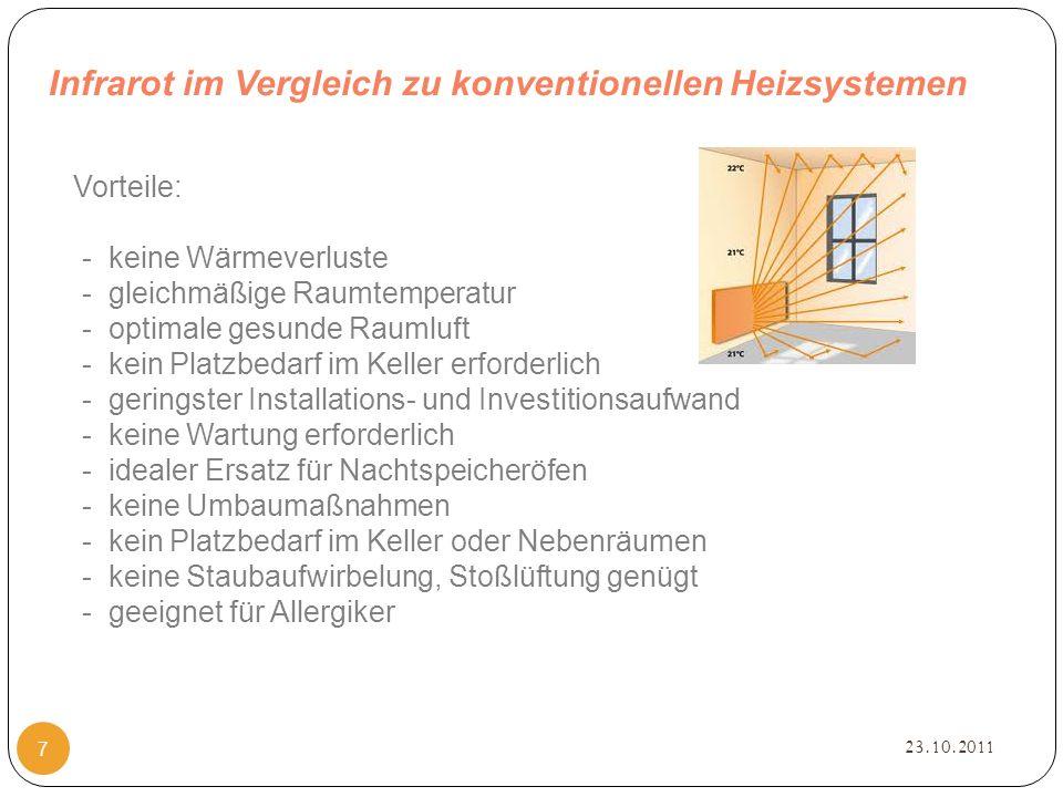 Infrarot im Vergleich zu konventionellen Heizsystemen 23.10.2011 7 Vorteile: - keine Wärmeverluste - gleichmäßige Raumtemperatur - optimale gesunde Raumluft - kein Platzbedarf im Keller erforderlich - geringster Installations- und Investitionsaufwand - keine Wartung erforderlich - idealer Ersatz für Nachtspeicheröfen - keine Umbaumaßnahmen - kein Platzbedarf im Keller oder Nebenräumen - keine Staubaufwirbelung, Stoßlüftung genügt - geeignet für Allergiker
