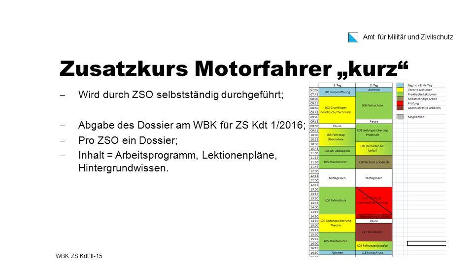 """Amt für Militär und Zivilschutz Zusatzkurs Motorfahrer """"kurz""""  Wird durch ZSO selbstständig durchgeführt;  Abgabe des Dossier am WBK für ZS Kdt 1/20"""