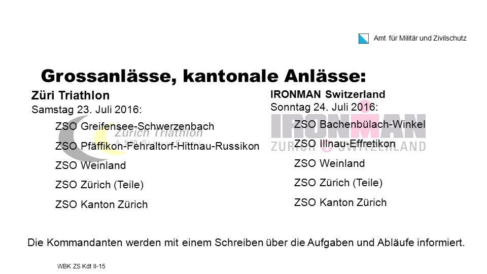 Amt für Militär und Zivilschutz IRONMAN Switzerland Sonntag 24. Juli 2016: ZSO Bachenbülach-Winkel ZSO Illnau-Effretikon ZSO Weinland ZSO Zürich (Teil