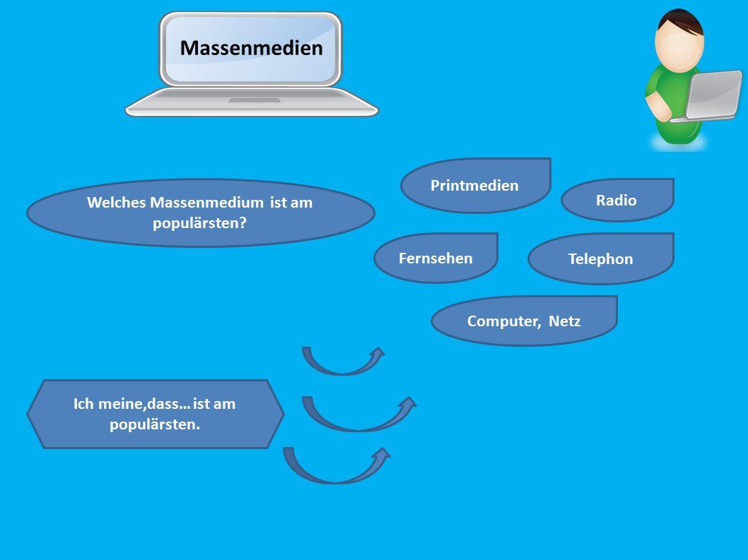 Massenmedien Welches Massenmedium ist am populärsten? Printmedien Radio Fernsehen Telephon Computer, Netz Ich meine,dass… ist am populärsten.