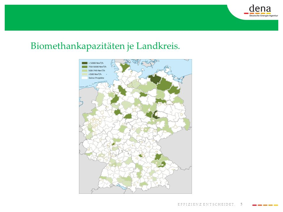 6 EFFIZIENZ ENTSCHEIDET. Biomethanprojekte in Bau bzw. in Planung je Landkreis.