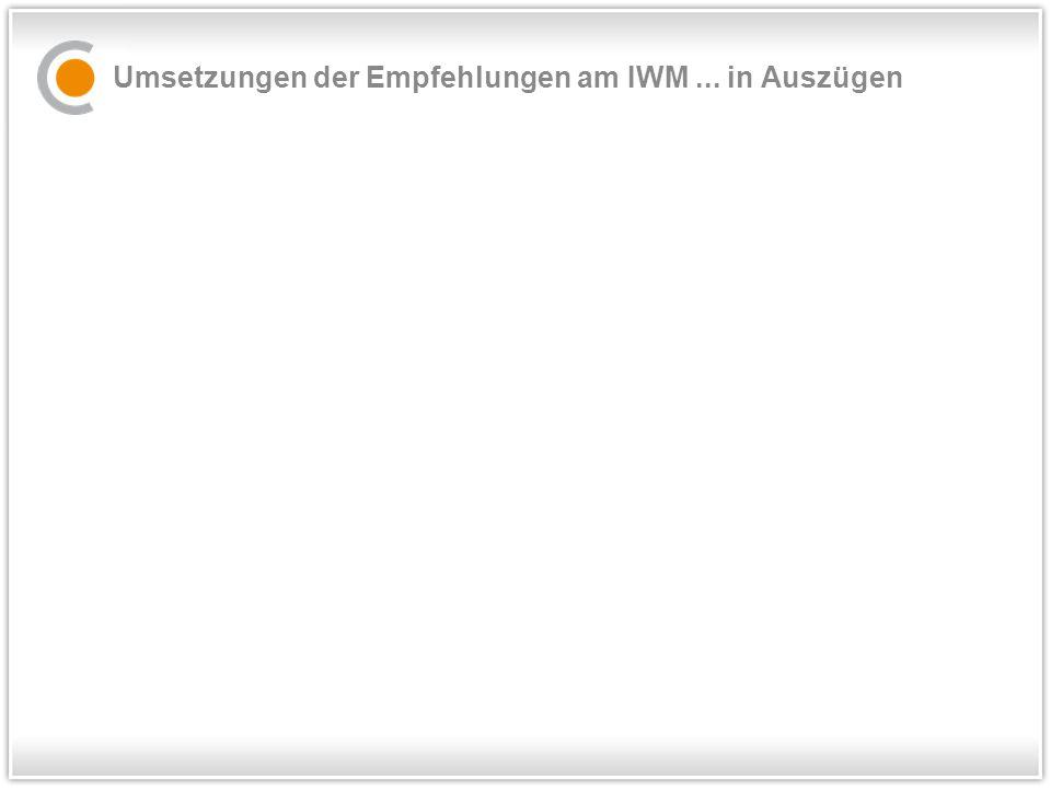 Umsetzungen der Empfehlungen am IWM... in Auszügen