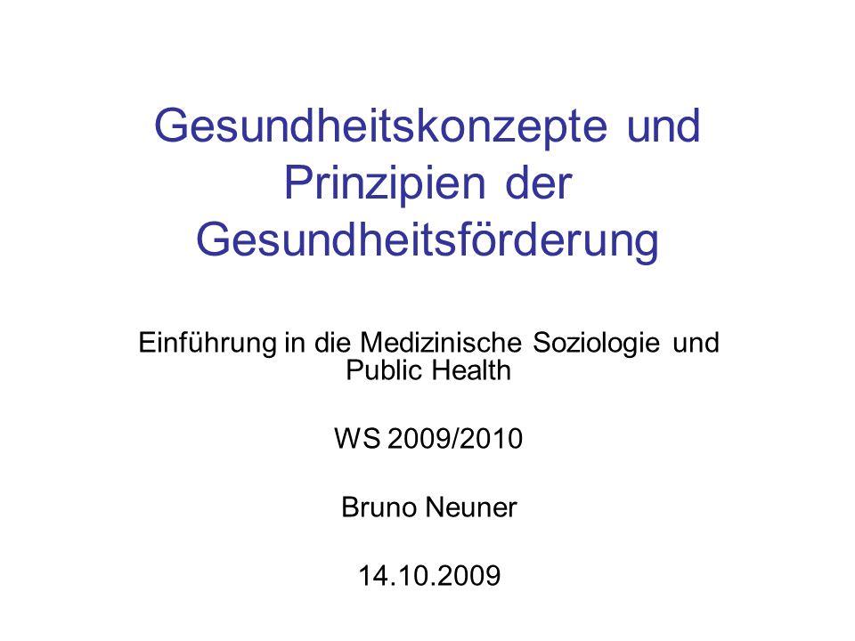 Gesundheitskonzepte und Prinzipien der Gesundheitsförderung Einführung in die Medizinische Soziologie und Public Health WS 2009/2010 Bruno Neuner 14.1
