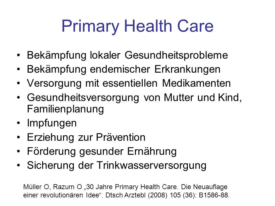 Primary Health Care Bekämpfung lokaler Gesundheitsprobleme Bekämpfung endemischer Erkrankungen Versorgung mit essentiellen Medikamenten Gesundheitsver