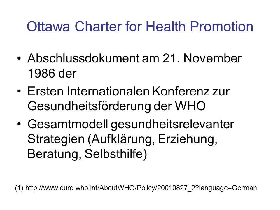 Ottawa Charter for Health Promotion Abschlussdokument am 21. November 1986 der Ersten Internationalen Konferenz zur Gesundheitsförderung der WHO Gesam