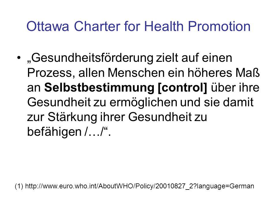 """Ottawa Charter for Health Promotion """"Gesundheitsförderung zielt auf einen Prozess, allen Menschen ein höheres Maß an Selbstbestimmung [control] über i"""