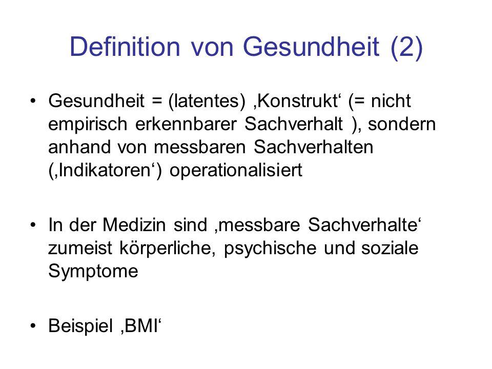 Definition von Gesundheit (2) Gesundheit = (latentes) 'Konstrukt' (= nicht empirisch erkennbarer Sachverhalt ), sondern anhand von messbaren Sachverha