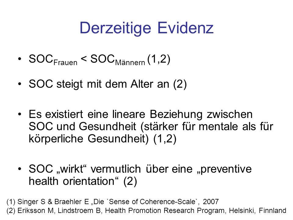 Derzeitige Evidenz SOC Frauen < SOC Männern (1,2) SOC steigt mit dem Alter an (2) Es existiert eine lineare Beziehung zwischen SOC und Gesundheit (stä