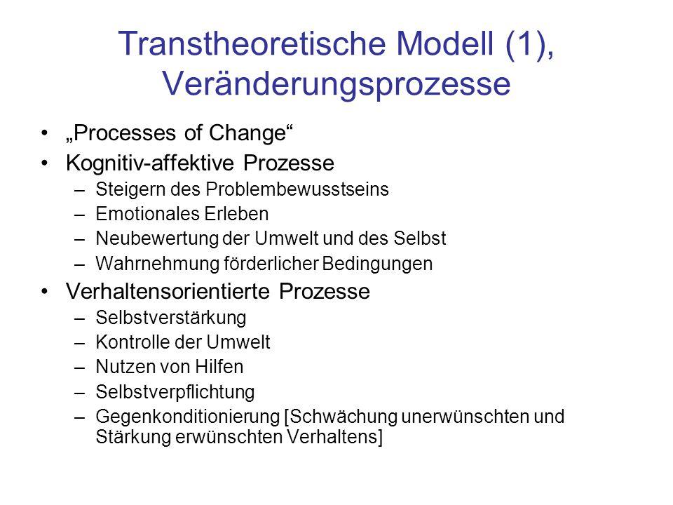 """Transtheoretische Modell (1), Veränderungsprozesse """"Processes of Change"""" Kognitiv-affektive Prozesse –Steigern des Problembewusstseins –Emotionales Er"""