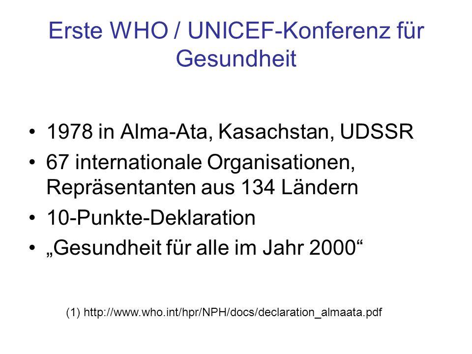 Erste WHO / UNICEF-Konferenz für Gesundheit 1978 in Alma-Ata, Kasachstan, UDSSR 67 internationale Organisationen, Repräsentanten aus 134 Ländern 10-Pu