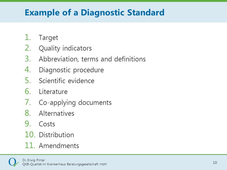 Dr. Erwig Pinter QKB-Qualität im Krankenhaus Beratungsgesellschaft mbH 10 1. Target 2. Quality indicators 3. Abbreviation, terms and definitions 4. Di