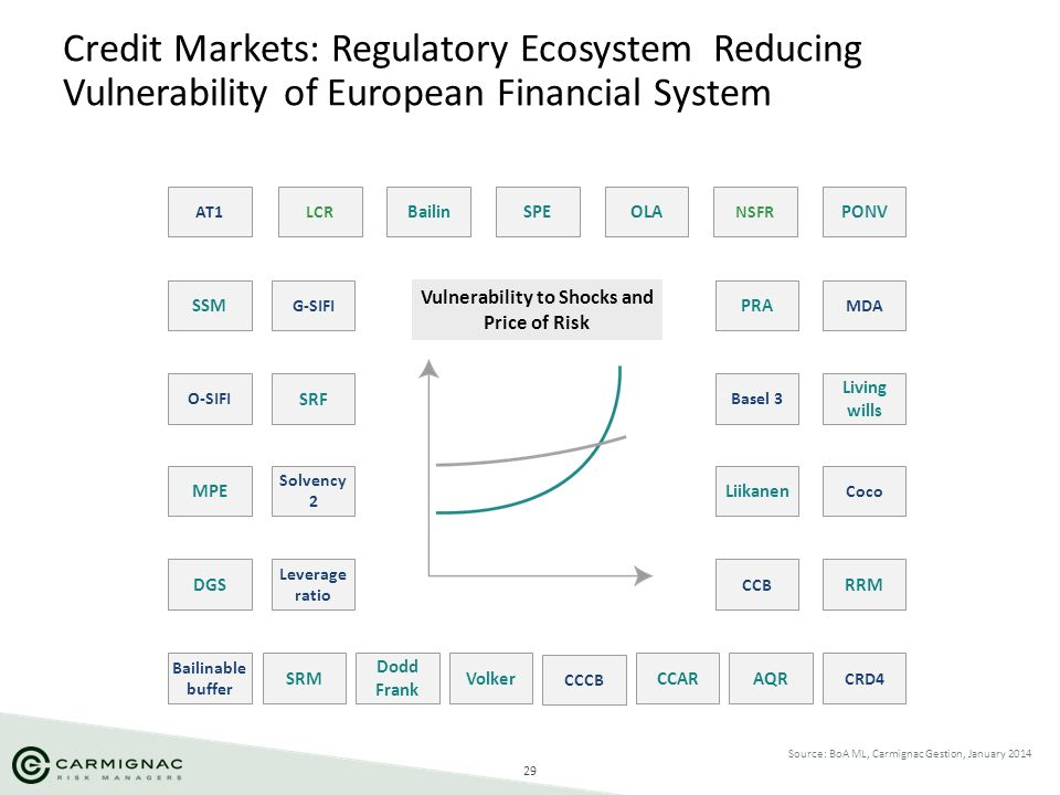 29 Credit Markets: Regulatory Ecosystem Reducing Vulnerability of European Financial System Source: BoA ML, Carmignac Gestion, January 2014 AT1 Coco O