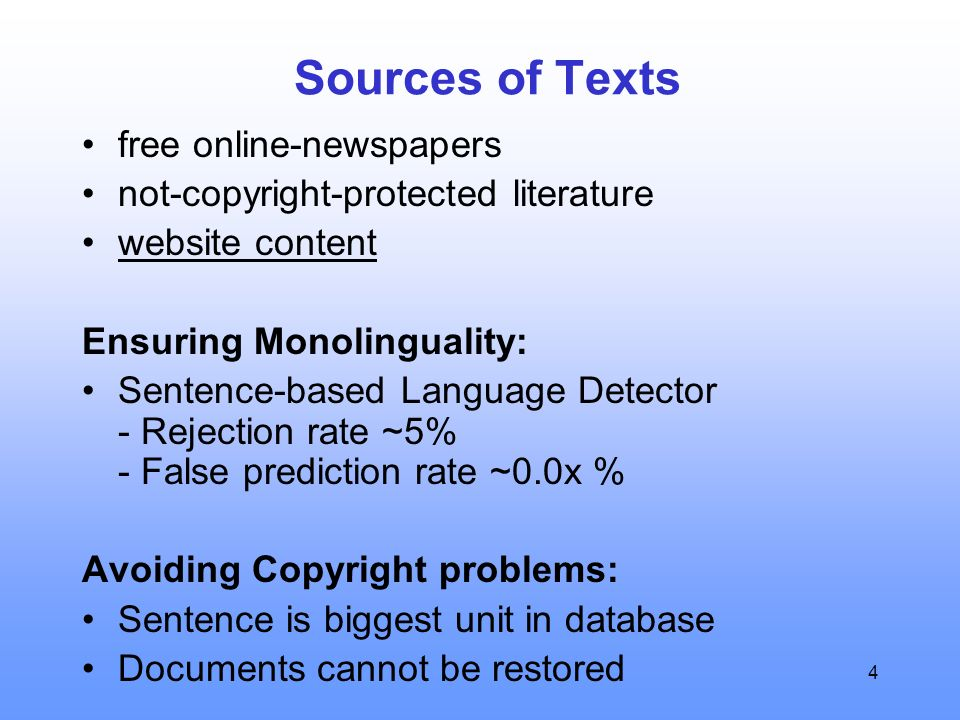 4 Sources of Texts free online-newspapers not-copyright-protected literature website content Ensuring Monolinguality: Sentence-based Language Detector