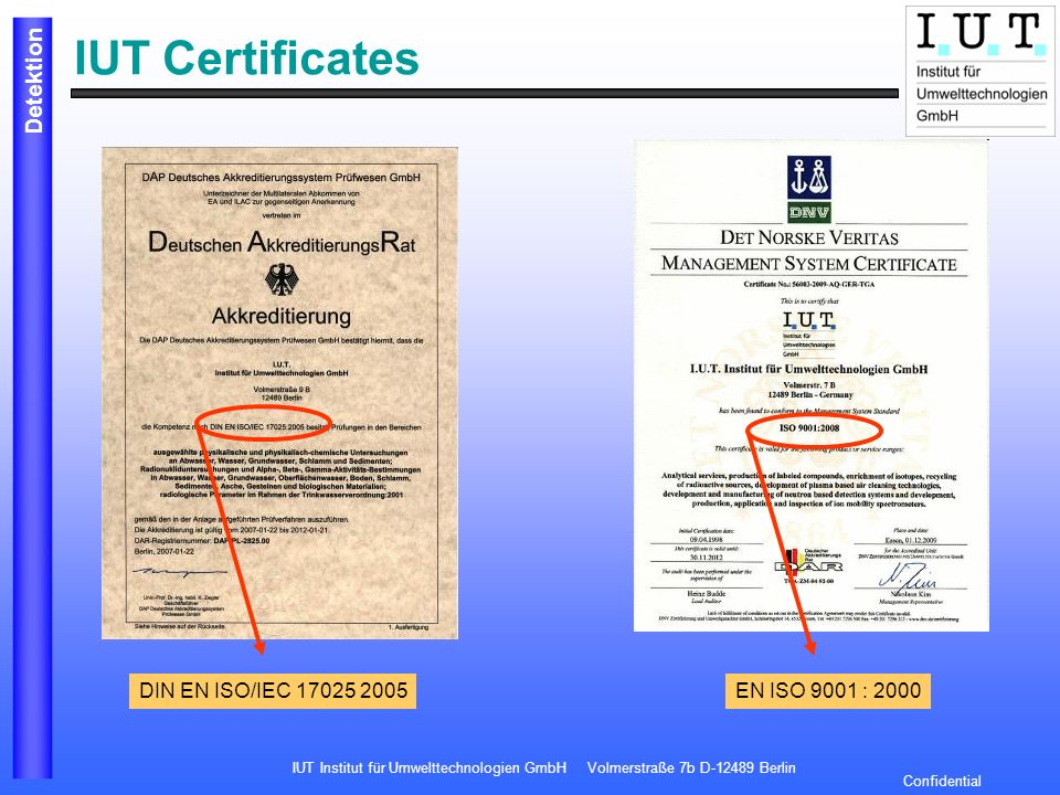 IUT Institut für Umwelttechnologien GmbH Volmerstraße 7b D-12489 Berlin Detektion Confidential IUT Certificates DIN EN ISO/IEC 17025 2005EN ISO 9001 :