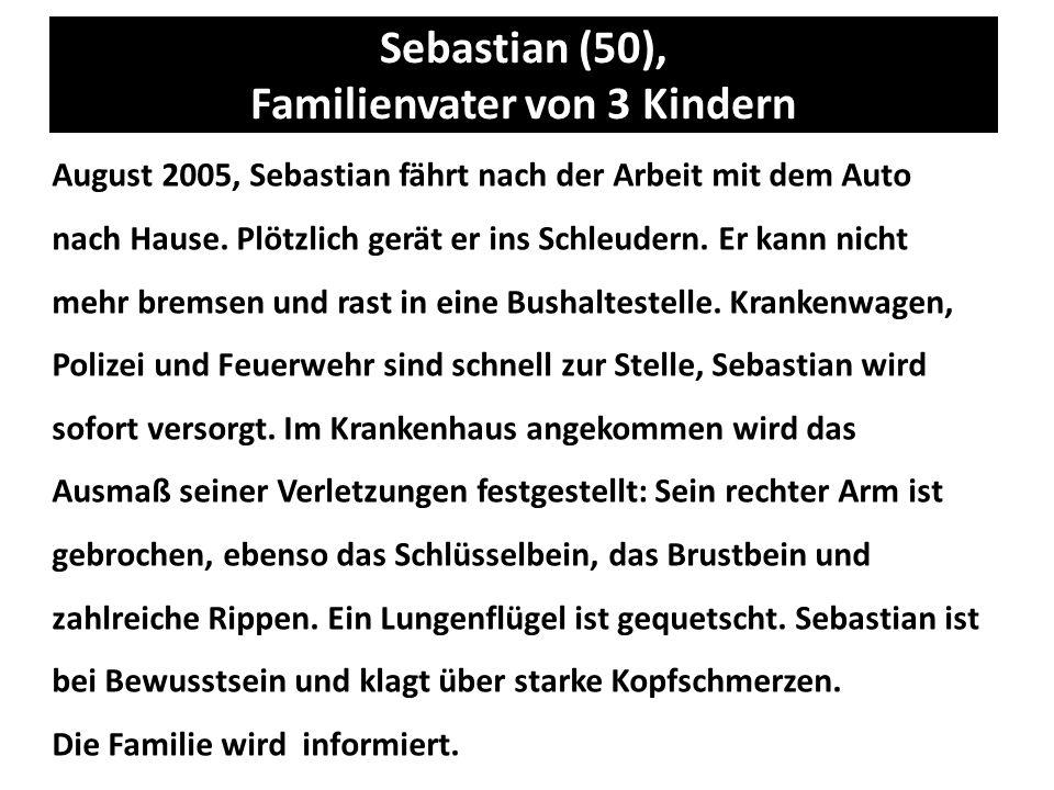 Sebastian (50), Familienvater von 3 Kindern August 2005, Sebastian fährt nach der Arbeit mit dem Auto nach Hause. Plötzlich gerät er ins Schleudern. E