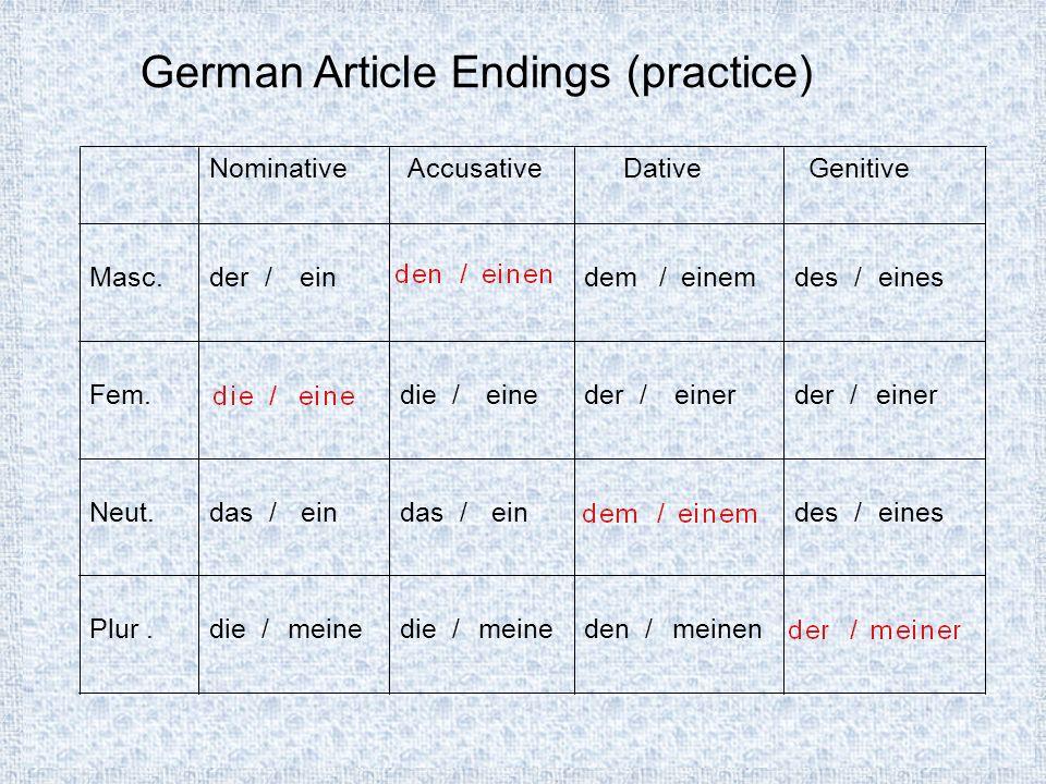NominativeAccusativeDativeGenitive Masc.der /einden /einendem/einem Fem.die /einedie /eineder /einer Neut.das /eindem/einemdes /eines Plur.die /meineden /meinender/meiner German Article Endings (practice)