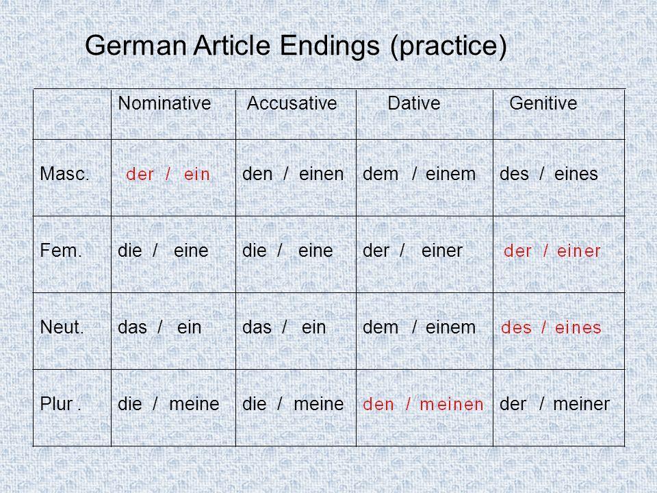 German Article Endings (practice) NominativeAccusativeDativeGenitive Masc.der /einden /einendes /eines Fem.die /eineder /einerder /einer Neut.das /eindem/einemdes /eines Plur.die /meineden /meinender/meiner