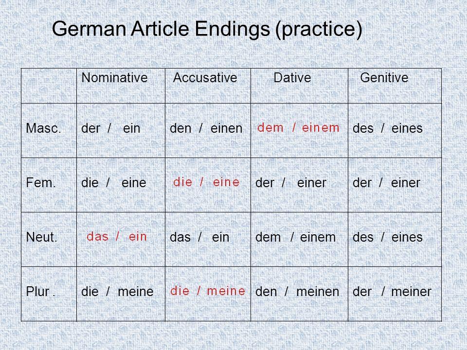 German Article Endings (practice) NominativeAccusativeDativeGenitive Masc.der /einden /einendes /eines Fem.die /eineder /einerder /einer Neut.das /ein