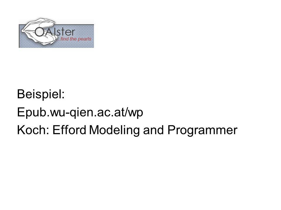 Beispiel: Epub.wu-qien.ac.at/wp Koch: Efford Modeling and Programmer