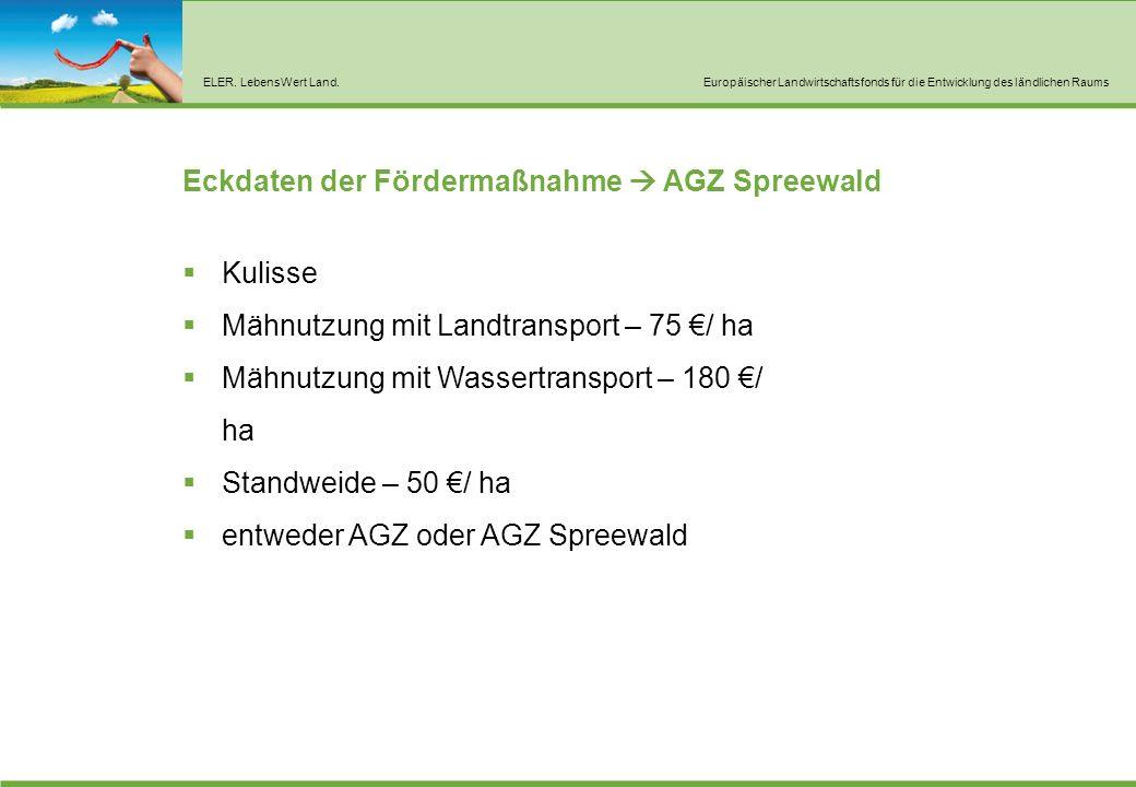 ELER. LebensWert Land.Europäischer Landwirtschaftsfonds für die Entwicklung des ländlichen Raums Eckdaten der Fördermaßnahme  AGZ Spreewald  Kulisse