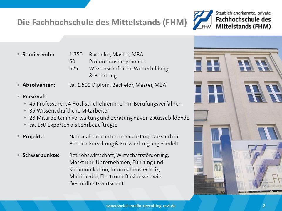 Die Fachhochschule des Mittelstands (FHM)  Studierende:1.750Bachelor, Master, MBA 60 Promotionsprogramme 625 Wissenschaftliche Weiterbildung & Beratung  Absolventen:ca.