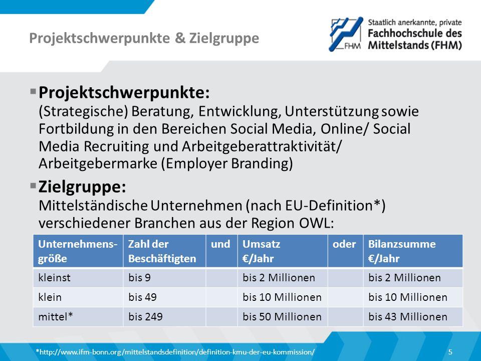 Projektschwerpunkte & Zielgruppe  Projektschwerpunkte: (Strategische) Beratung, Entwicklung, Unterstützung sowie Fortbildung in den Bereichen Social Media, Online/ Social Media Recruiting und Arbeitgeberattraktivität/ Arbeitgebermarke (Employer Branding)  Zielgruppe: Mittelständische Unternehmen (nach EU-Definition*) verschiedener Branchen aus der Region OWL: *http://www.ifm-bonn.org/mittelstandsdefinition/definition-kmu-der-eu-kommission/5 Unternehmens- größe Zahl der Beschäftigten undUmsatz €/Jahr oderBilanzsumme €/Jahr kleinstbis 9bis 2 Millionen kleinbis 49bis 10 Millionen mittel*bis 249bis 50 Millionenbis 43 Millionen