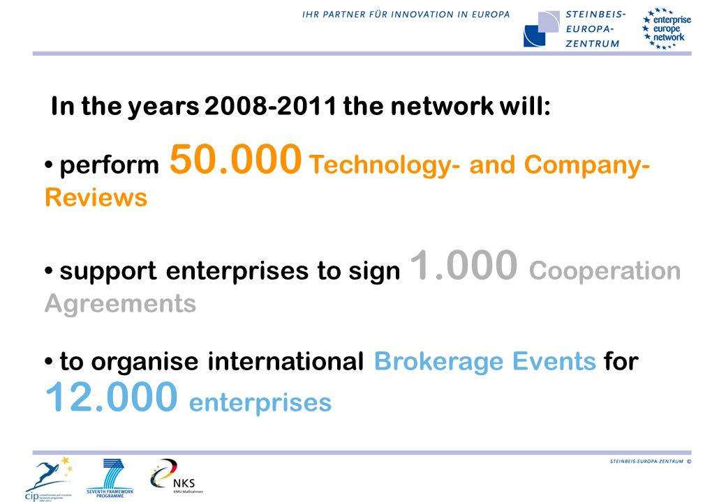In the years 2008-2011 the network will: perform 50.000 Technology- and Company- Reviews support enterprises to sign 1.000 Cooperation Agreements to o