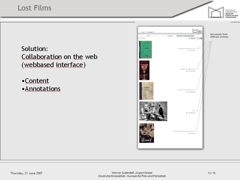 12/15 Thursday, 21 June 2007 Werner Sudendorf, Jürgen Keiper Deutsche Kinemathek – Museum für Film und Fernsehen Solution: Collaboration on the web (webbased interface) Content Annotations
