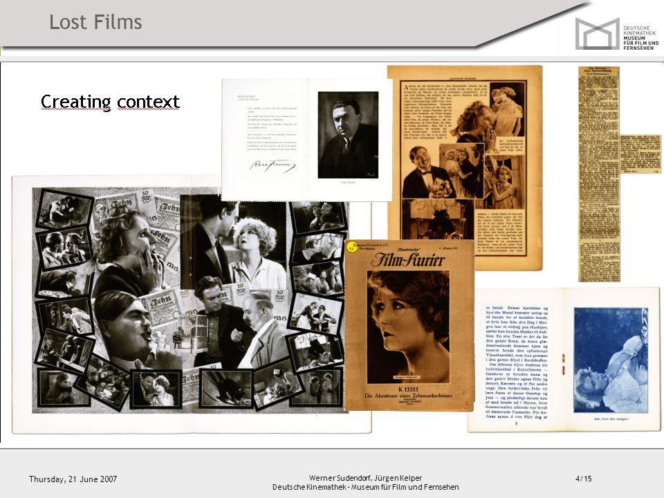 4/15 Thursday, 21 June 2007 Werner Sudendorf, Jürgen Keiper Deutsche Kinemathek – Museum für Film und Fernsehen Creating context