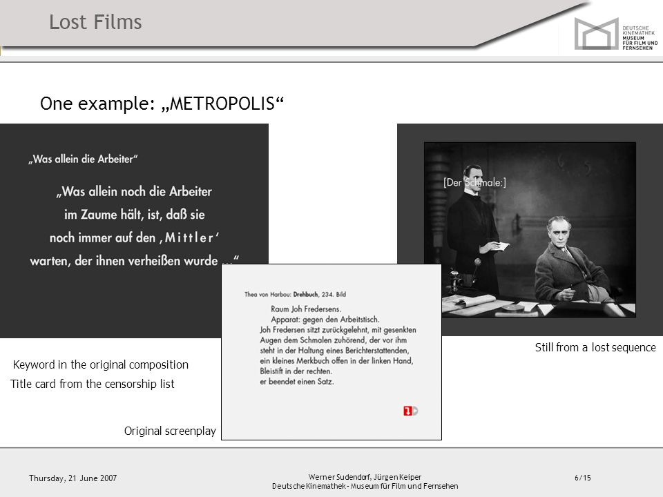 "6/15 Thursday, 21 June 2007 Werner Sudendorf, Jürgen Keiper Deutsche Kinemathek – Museum für Film und Fernsehen One example: ""METROPOLIS Keyword in the original composition Title card from the censorship list Still from a lost sequence Original screenplay"