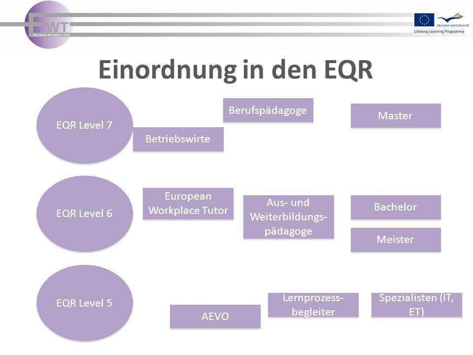 Einordnung in den EQR EQR Level 5 EQR Level 7 EQR Level 6 European Workplace Tutor Aus- und Weiterbildungs- pädagoge Bachelor Meister Lernprozess- begleiter AEVO Berufspädagoge Master Spezialisten (IT, ET) Betriebswirte